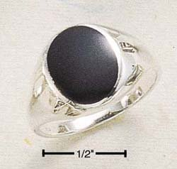 STERLING SILVER MENS OVAL ONYX RING