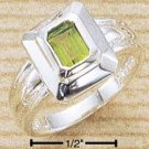 STERLING SILVER EMERALD CUT INSET 5x7MM PERIDOT RING