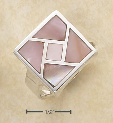 : STERLING SILVER SQUARE INLAYED PINK MOP MOSAIC RING