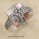 PINK MOP SHELL  IN CRISSCROSS ORNATE DESIGN RING