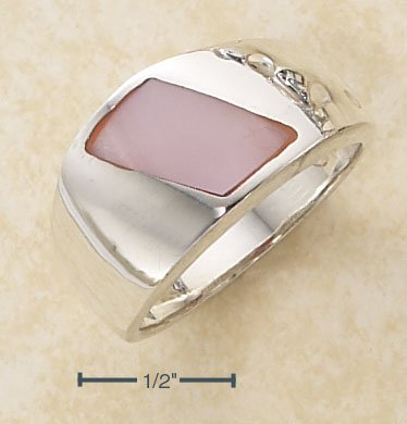 SILVER PINK MOP SHELL ON POLISHED SHANK RING