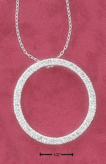 "16"" 28MM CONTINUOUS CZ OPEN CIRCLE NECKLACE"