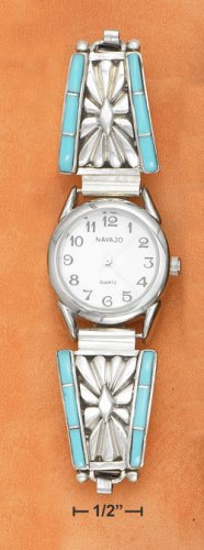 TURQUOISE INLAY & SUNBURST DESIGN  LADIES WATCH
