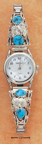 STERLING SILVER LADIES TURQUOISE NUGGET WATCH