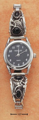 STERLING SILVER WOMENS ONYX WATCH W/ BLACK FACE