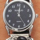 STERLING SILVER MENS ONYX WATCH W/ BLACK FACE