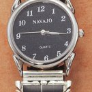 STERLING SILVER MENS WATCH W/ LAB OPAL & ONYX INLAY