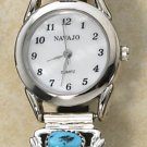 LADIES MOP FACE W/ (2) 3-STONE TURQUOISE NUGGET TIPS WATCH