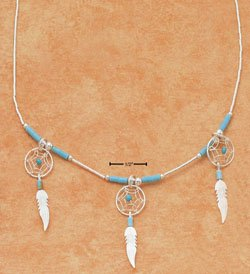 "STERLING SILVER 18"" NECKLACE TURQUOISE & TRIPLE DREAMCATCHER"