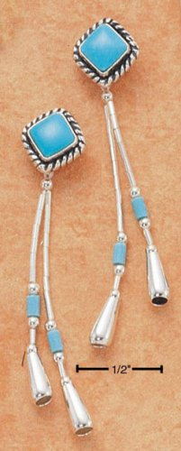 TURQUOISE DIAMONDS W/ LIQUID SILVER TASSLE EARRINGS