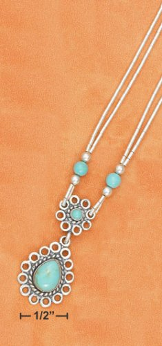 "16""-20"" ADJ 2 STRAND  W/ TURQUOISE  DANGLE PENDANT NECKLACE"