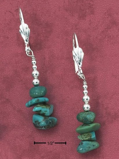 SILVER TURQUOISE NUGGET STACK LEVERBACK EARRINGS