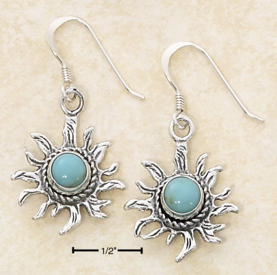 SILVER ROUND TURQUOISE SUNFACE DANGLE FW EARRINGS