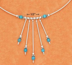 COIL WRAP NECKLACE W/ TURQUOISE BEAD STICK DANGLES