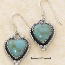 TURQUOISE HEART W/ ROPED BORDER FW EARRINGS