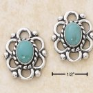 TURQUOISE W/ OPEN LOOP BORDER POST EARRINGS
