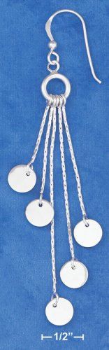 STERLING SILVER FLAT DISK ON STRAND W/ FRENCH WIRES