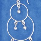"SILVER 2"" CIRCLE ON CIRCLE WITH BALL DANGLES EARRINGS"