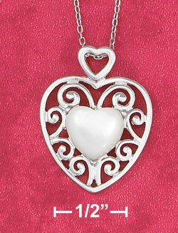 "18"" CABLE CHAIN NECKLACE W/ MOP HEART IN SCROLLED FRAME"
