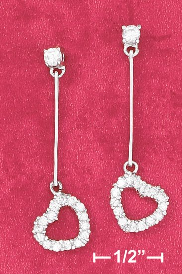CZ POST EARRING W/ BAR AND OPEN CZ HEART DANGLE