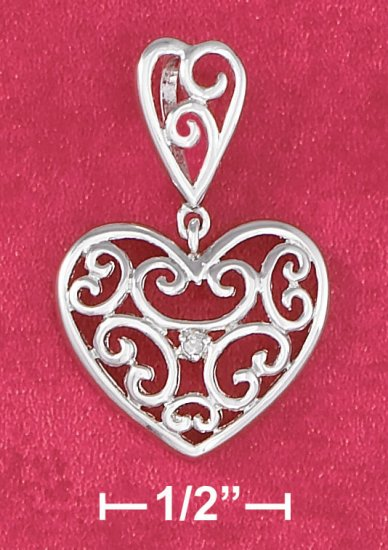 STERLING SILVER 18 IN  SCROLLED HEART PENDANT NECKLACE
