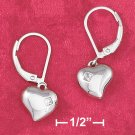 PUFFED HEART LEVERBACK EARRINGS W/ 2MM PRINCESS-CUT CZ INSET