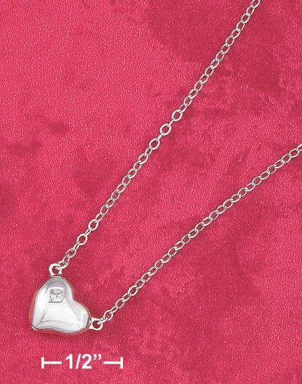 "STERLING SILVER 16""-17"" PUFFED HEART NECKLACE"