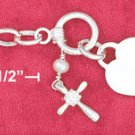 TOGGLE BRACELET W/ PEARL,CROSS, & HEART DANGLES