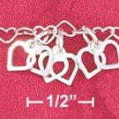 "7"" SS  MINI HEART LINK BRACELET"