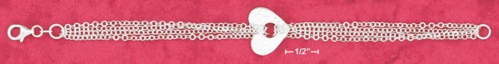 SILVER 4 STRAND BRACELET W/14MM HAMMERED HEART