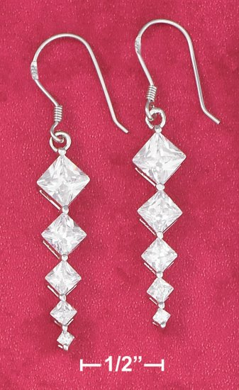 STERLING SILVER 5  GRADUATED CZ FW EARRINGS