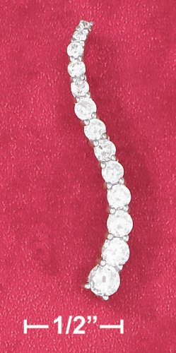 STERLING SILVER 18 IN NECKLACE W/ 13 GRADUATED CZ 'S