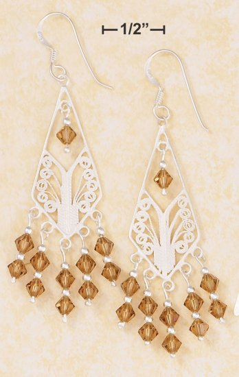 SILVER DIAMOND SHAPE FILIGREE EARRINGS W/CHAMPAGNE SWAROVSKI CRYSTAL