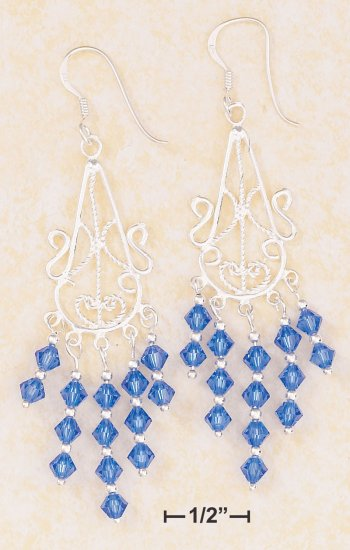 STERLING SILVER FILIGREE WIRE  DANGLE EARRINGS W/ROYAL BLUE SWAROVSKI CRYSTALS