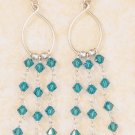 SILVER HP WIRE DANGLE EARRING W/3 STRANDS OF TEAL CRYSTALS