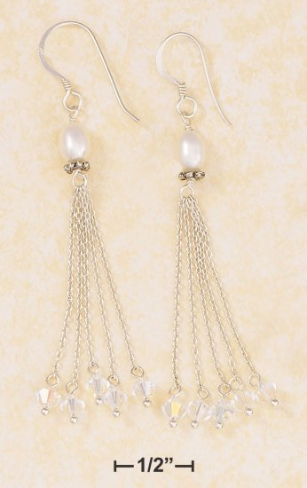 SILVER HP DANGLE EARRINGS W/ OVAL PEARL, 4 CHAINS/CRYSTALS
