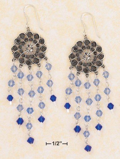 SILVER ANTIQUED  FLORAL DISK EARRINGS /LT & DK BLUE CRYSTALS