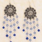 SILVER ANTIQUED  FLORAL DISK EARRINGS /LT & DK BLUE CRYSTALS