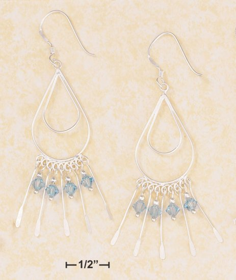 DOUBLE TEARDROP WIRE EARRING W/ AQUA SWAROVSKI CRYSTAL