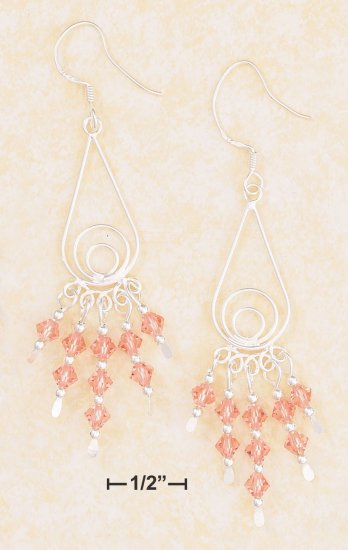 FANCY TEARDROP WIRE EARRING W/ PINK SWAROVSKI CRYSTALS