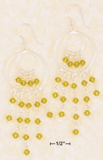 CIRCLE WATERFALL EARRINGS W/ LT GREEN SWAROVSKI CRYSTALS