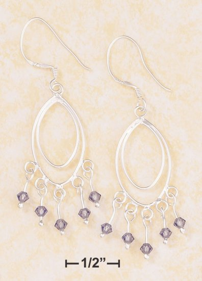 MARQUISE WIRE DANGLE EARRING W/PURPLE SWAROVSKI CRYSTALS