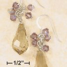 CHAMPAGNE CRYSTAL BRIOLETTE & PURPLE CLUSTER EARRINGS
