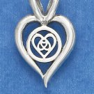 STERLING SILVER 16MM OPEN HEART PENDANT /18IN CHAIN