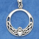 SILVER CROWNED HEART & CELTIC KNOTS 18IN PENDANT