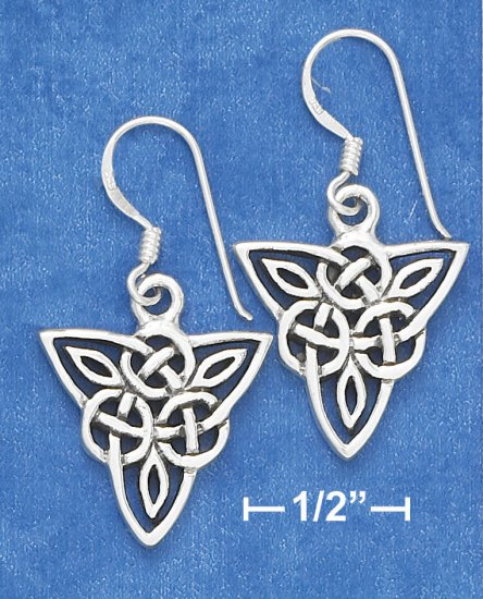 SILVER TRIANGULAR CELTIC SCROLLED DESIGN EARRINGS
