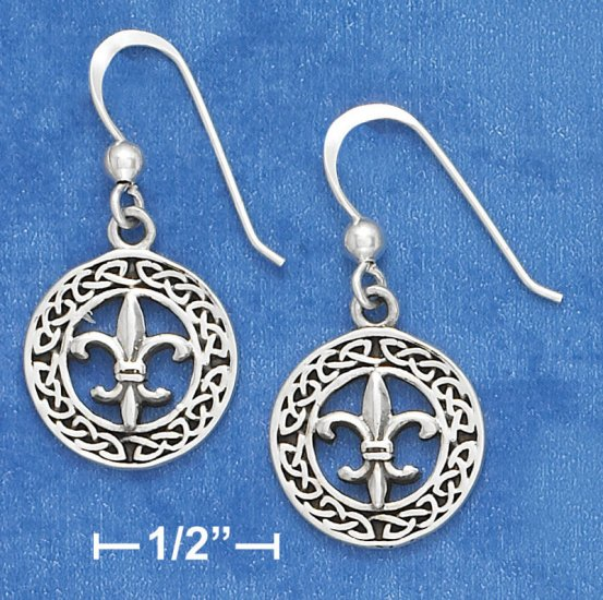 SILVER CELTIC WREATH EARRINGS W/  FLEUR-DE-LIS ON FW