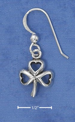 STERLING SILVER SHAMROCK EARRINGS ON FRENCH WIRES