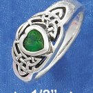 SILVER 5MM GREEN GLASS HEART RING WITH CELTIC KNOTS