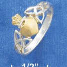 STERLING SILVER/GOLD CROWN HEART RING W/ CELTIC KNOT SIDES